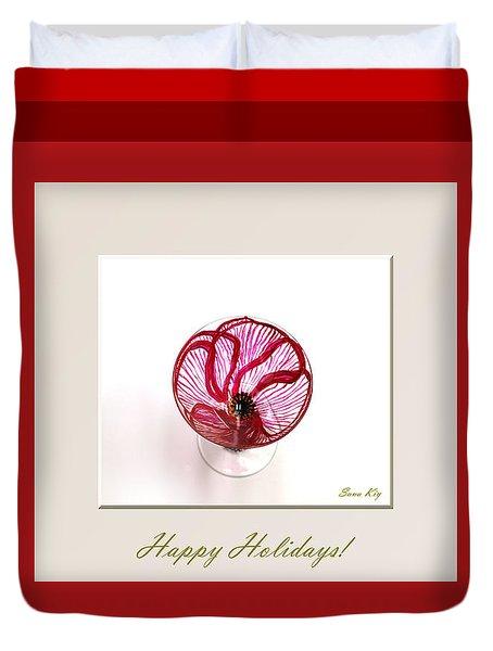 Happy Holidays. Red Poppy Duvet Cover by Oksana Semenchenko