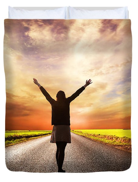 Happy Woman Standing On Long Road At Sunset Duvet Cover by Michal Bednarek