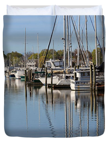 Harbor Reflections Duvet Cover by Karol Livote