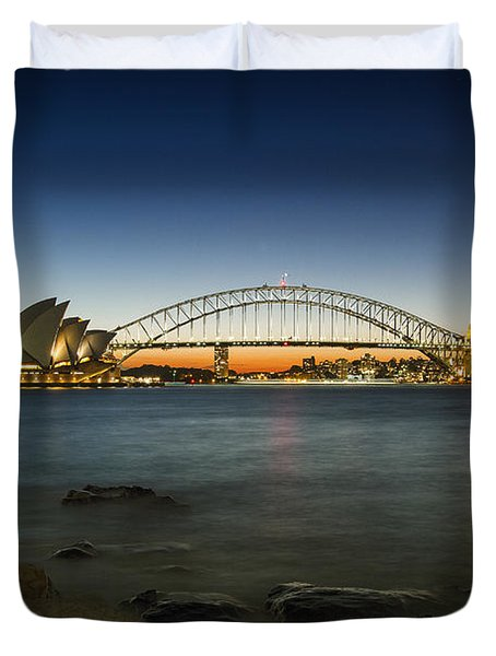 Harbour Night Duvet Cover by Andrew Paranavitana