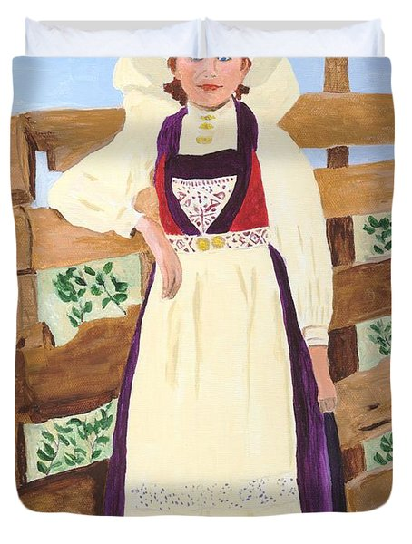 Duvet Cover featuring the painting Hardanger Girl by Rodney Campbell