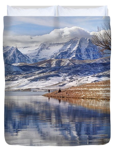 Hardy Fishermen Deer Creek Reservoir And Timpanogos In Winter Duvet Cover by Gary Whitton