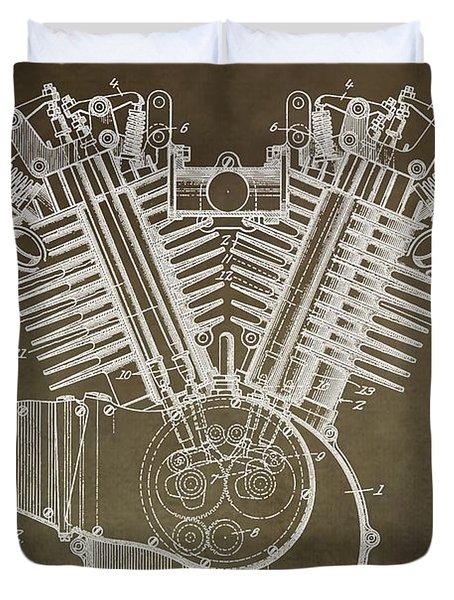 Harley Davidson Engine Duvet Cover by Dan Sproul