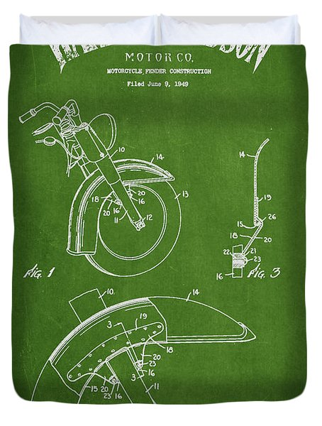 Harley Davidson Fender Construction Patent Drawing From 1949 - Green Duvet Cover by Aged Pixel