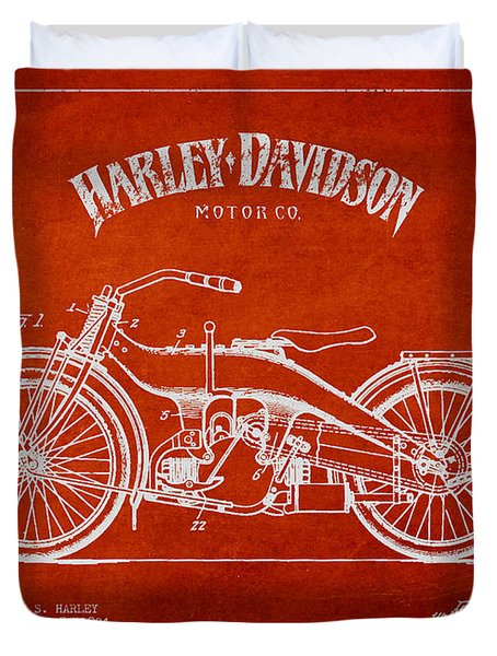Harley Davidson Motorcycle Patent Drawing From 1924 Duvet Cover by Aged Pixel