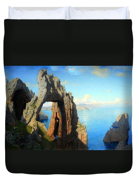 Haseltine's Natural Arch At Capri Duvet Cover by Cora Wandel