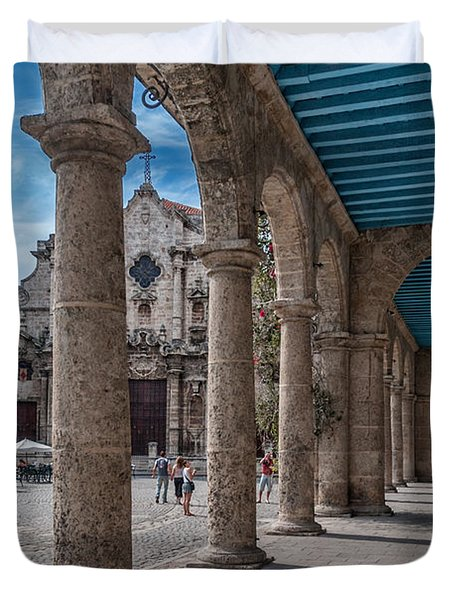 Havana Cathedral and porches. Cuba Duvet Cover by Juan Carlos Ferro Duque
