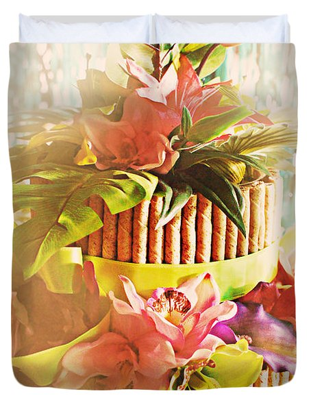 Hawaiian Wedding Cake Duvet Cover by Susan Bordelon