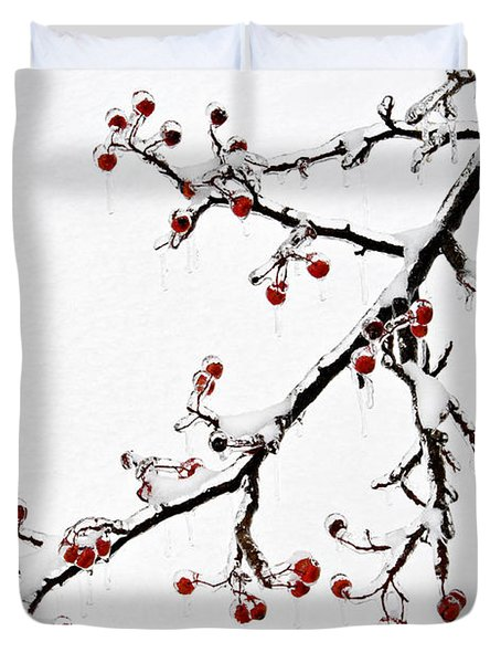 Hawthorn Ice And Snow - D004830 Duvet Cover by Daniel Dempster