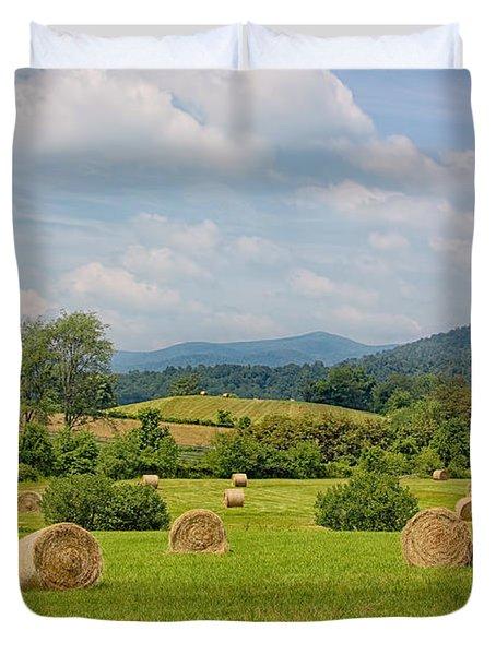 Hay Bales in Farm Field Duvet Cover by Kim Hojnacki