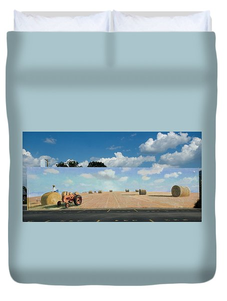 Haybales - The other side of the Tunnel Duvet Cover by Blue Sky