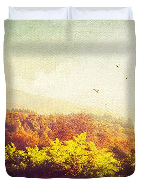 Hazy Morning in Trossachs National Park. Scotland Duvet Cover by Jenny Rainbow