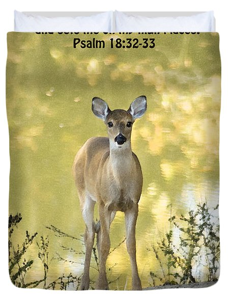 He Makes My Feet Like The Feet of Deer Duvet Cover by Kathy Clark