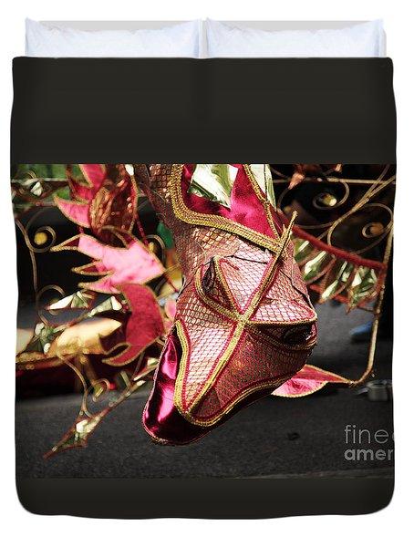 Head Of A Dragon At Leeds Carnival Duvet Cover by Deborah Benbrook
