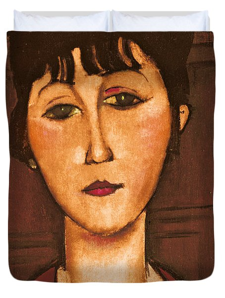 Head Of A Girl Duvet Cover by Amedeo Modigliani