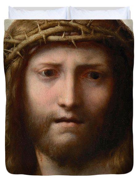 Head of Christ Duvet Cover by Correggio