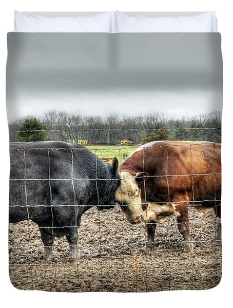 Head To Head Duvet Cover by Cricket Hackmann