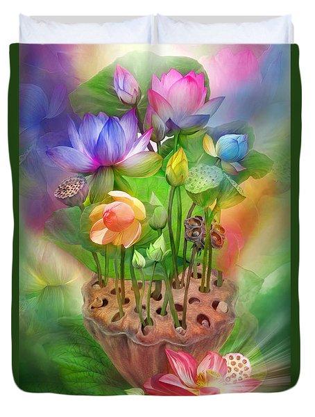 Healing Lotus - Chakras Duvet Cover by Carol Cavalaris