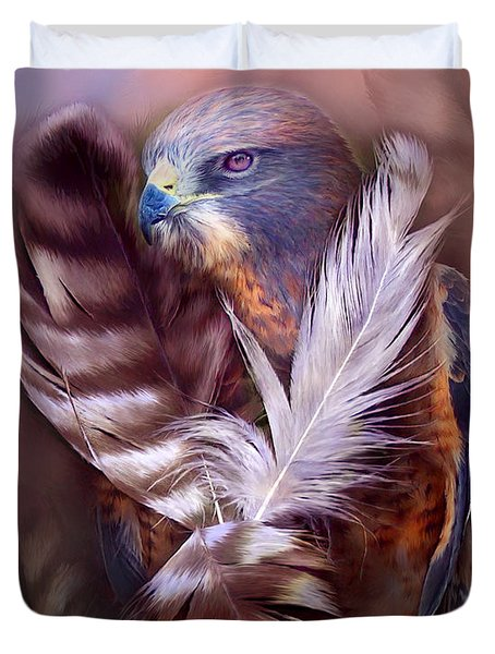 Heart Of A Hawk Duvet Cover by Carol Cavalaris