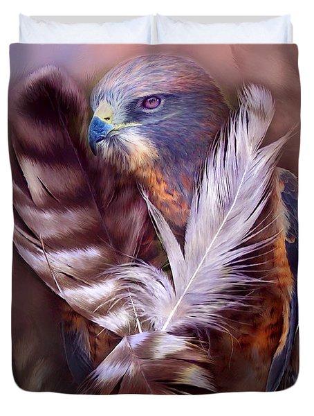 Heart Of A Hawk Duvet Cover by Carol Cavalaris