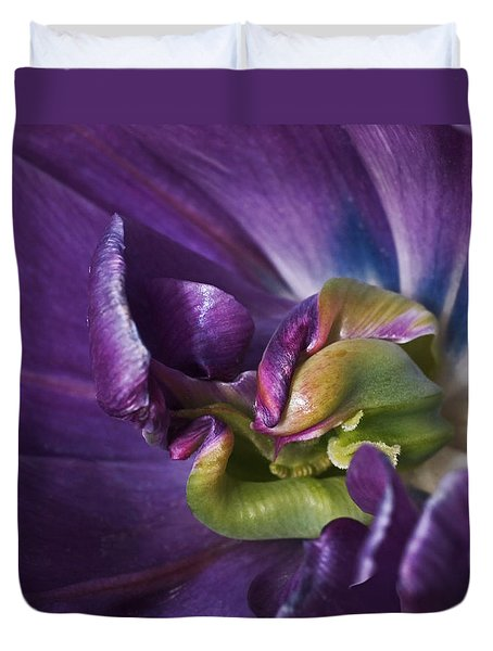 Heart Of A Purple Tulip Duvet Cover by Rona Black
