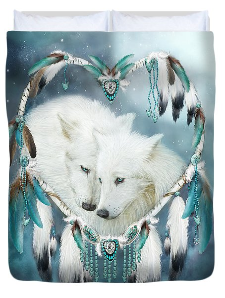 Heart Of A Wolf Duvet Cover by Carol Cavalaris