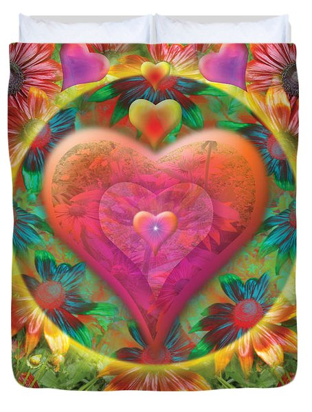 Heart Of Flowers Duvet Cover by Alixandra Mullins