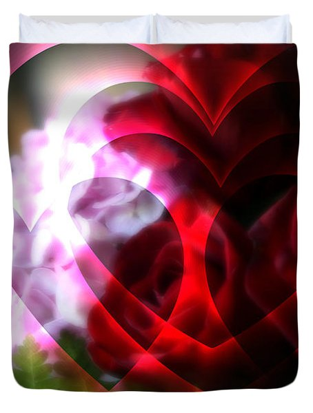 Hearts A Fire Duvet Cover by Kay Novy