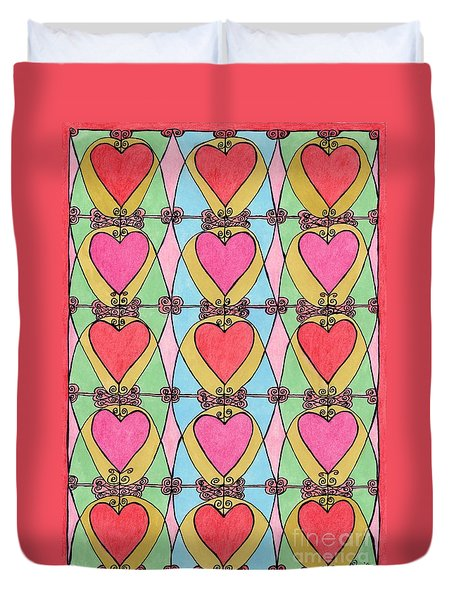 Hearts a'la Stained Glass Duvet Cover by Mag Pringle Gire