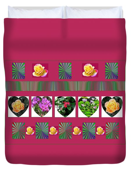 Hearts And Flowers 2 Duvet Cover by Marian Bell