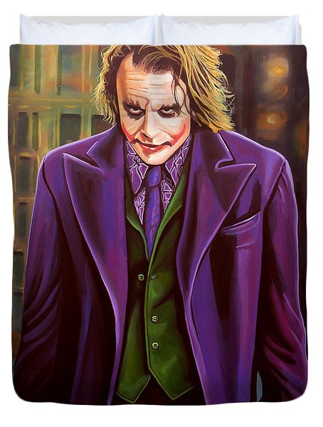 Heath Ledger As The Joker Duvet Cover by Paul  Meijering