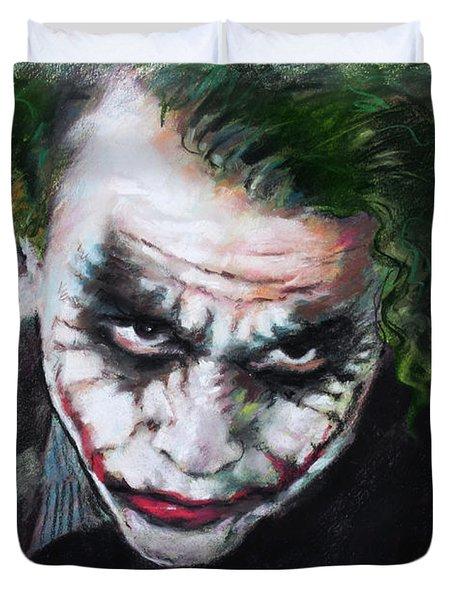 Heath Ledger The Dark Knight Duvet Cover by Viola El