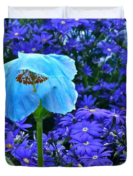 Heavenly Blue On Blue And Purple Duvet Cover by Byron Varvarigos