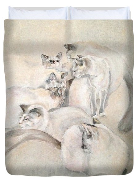 Heavenly Puffs Duvet Cover by Janet Felts