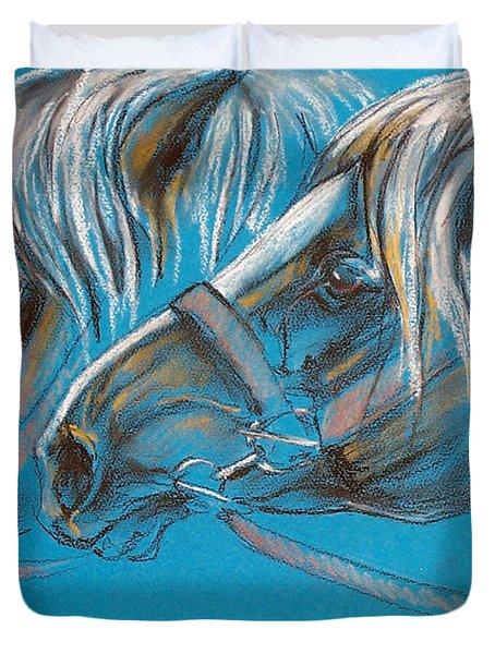 Heavy Horses Duvet Cover by Angel  Tarantella