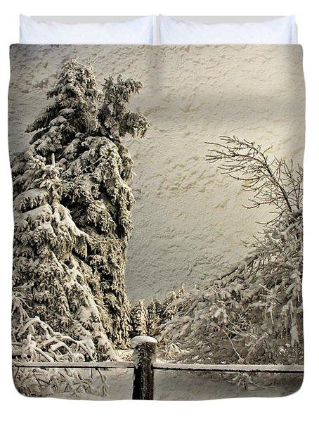 Heavy Laden Blizzard Duvet Cover by Lois Bryan