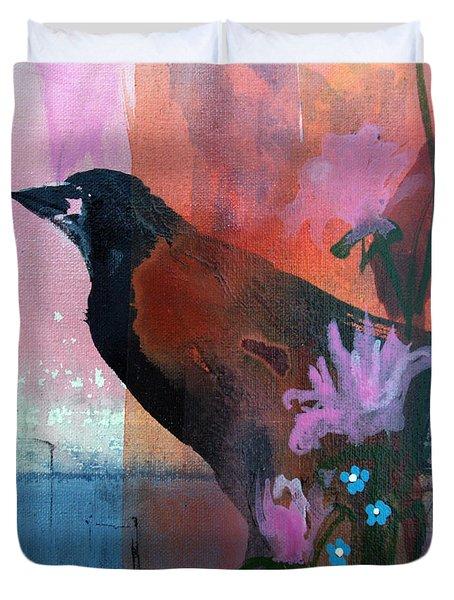 Hello Crow Duvet Cover by Robin Maria  Pedrero
