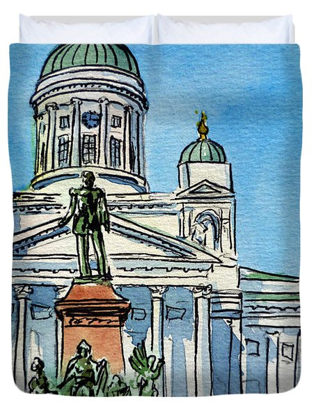 Helsinki Finland Duvet Cover by Irina Sztukowski