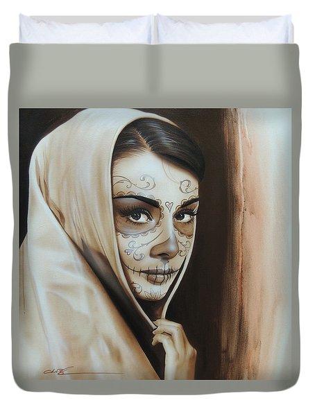 Audrey Hepburn - ' Hepburn De Los Muertos ' Duvet Cover by Christian Chapman Art