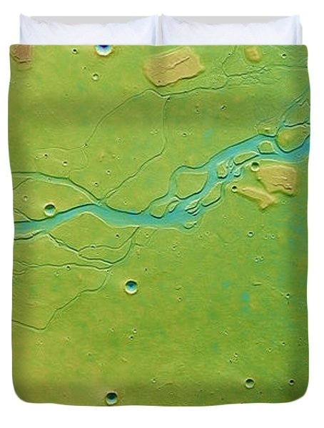 Duvet Cover featuring the photograph Hephaestus Fossae, Mars by Science Source