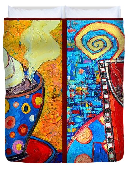 Her And His Coffee Cups Duvet Cover by Ana Maria Edulescu