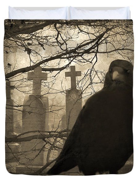 Her Graveyard Duvet Cover by Gothicolors Donna