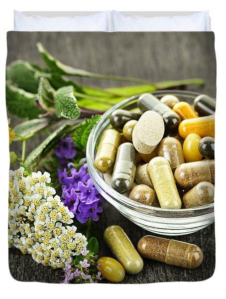 Herbal Medicine And Herbs Duvet Cover by Elena Elisseeva
