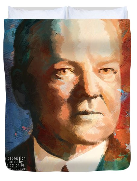 Herbert Hoover Duvet Cover by Corporate Art Task Force