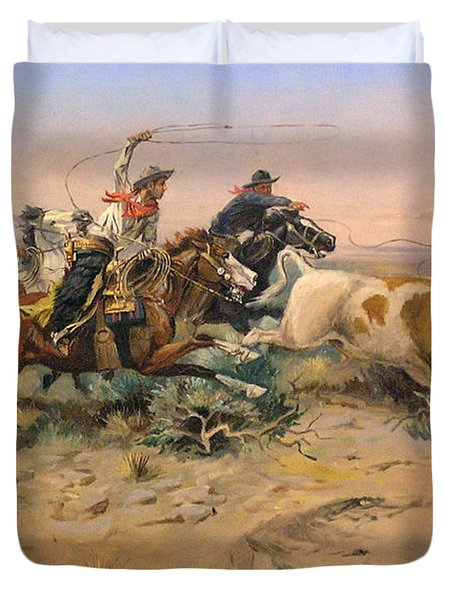 Herd Quit Duvet Cover by Charles Russell