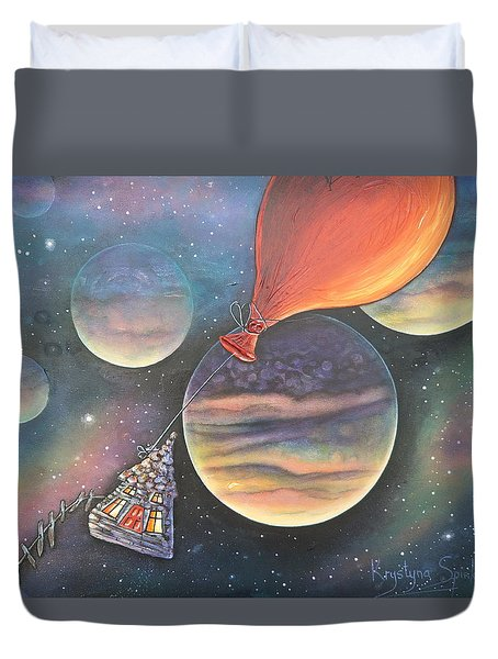 Here We Go Again Duvet Cover by Krystyna Spink