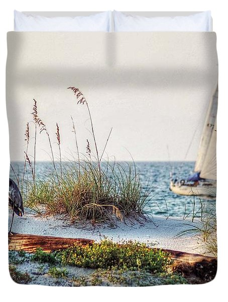 Heron And Sailboat Larger Sizes Duvet Cover by Michael Thomas