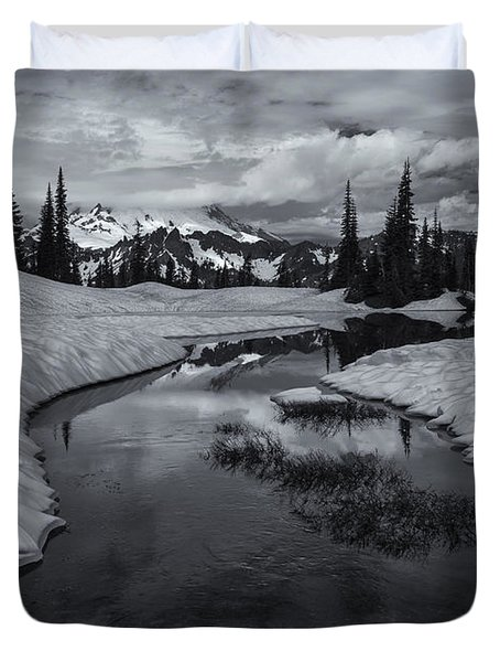 Hidden Beneath The Clouds Duvet Cover by Mike  Dawson