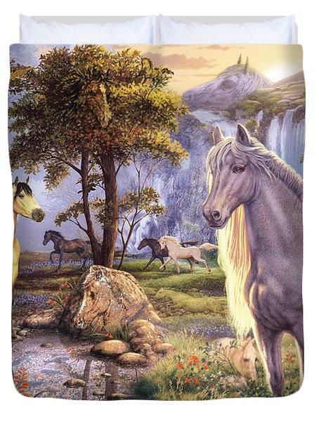 Hidden Images - Horses Duvet Cover by Steve Read