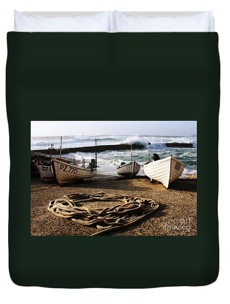 High Tide In Sennen Cove Cornwall Duvet Cover by Terri Waters